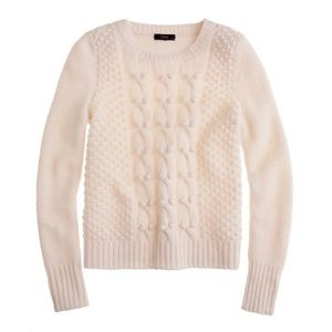 J.crew hand knit lambs wool Pom Pom cable sweater